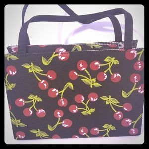 Handbags - Cherry Purse with cherries and black background